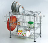 3 Tiers Chrome Metal Wire Kitchen Dish Holder Rack with Patent