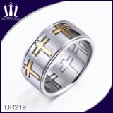 Two Tone Cross Ring for Mens