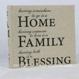 "Slogan Printing Linen Fabric Home Family Photo Album for 4X6 "" Photos"
