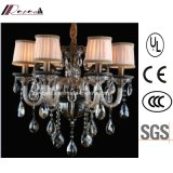 Hotel Decorative Zinc Alloy + Crystal Chandelier with Fabric Shade