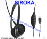 Black Color VoIP Headset with Micro USB2.0 for Windows System