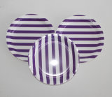 Purple Stripe Disposable Printed Paper Plate for Party