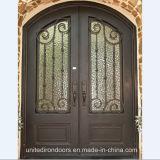 Front Entry Wrought Iron Double Door (UID-D021)
