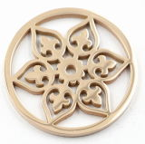 Fashion Stainless Steel Flower Coin Plates Fit Locket Pendant