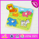 2015 Animal Deisgn Kid Wooden Puzzle Set Toy, 3D Wooden Animal Jigsaw Puzzle Toy, Wooden Toy Animal Puzzle Game with Knobs W14m073