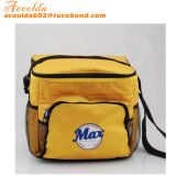 Yellow Square Cooler Bag with Front Pocket and Two Side Net Pocket
