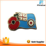 Custom Cheap Price Flag with Poppy Metal Lapel Pin