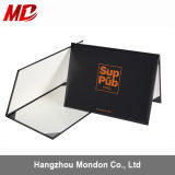 Black Leatherette Certificate Folder with Orange Stamping Logo-Tent Style