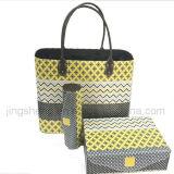 New Design Yellow Grey Color PU Leather Wood Handbag Set