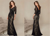 Ladies Black Slim Sexy Long Paragraph Evening Dress Tailored