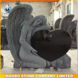 China Black Granite Single Angel Heart Headstone (HB-LA-headstone03)