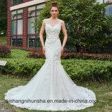 Mermaid Wedding Dress Back of Button Chapel Train Braid Gowns