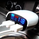 QC3.0 LED Display Double USB Ports Car Charger with Approvals
