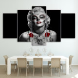 HD Printed Marilyn Monroe Tattoo Red Rose Painting Canvas Print Room Decor Print Poster Picture Canvas