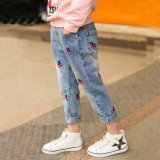 2017 Hot Sale Fashion Girls Print Cherry Denim Ripped Jeans