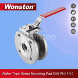 Wafer Type Ball Valve with Direct Mounting Pad DIN Pn16