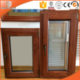 Aluminum Clad Wood Casement Window Built-in Blinds Integral Shutter Tilt and Turn Window for Afghan Client