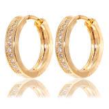 18k Gold Plated 925 Silver Hoop Earrings CZ Jewelry