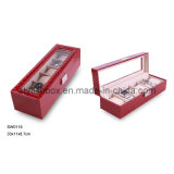 6PCS Clear Window Crocodile PU Watch Box