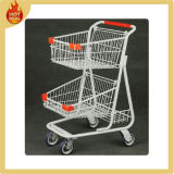 Metal Double Basket Shopping Cart for Supermarket