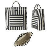 Men′s Fshion Striped Cotton/Linen Canvas Tote Bag