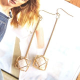 Silver/Gold-Color Hollow Geometric with White Simulated-Pearl Dangle Drop Earrings