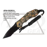 "4.75"" Closed Outdoor Pocket Knife with Green Camo Coated: 4pn4-50gnca"