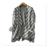 Women Clothing Factory Thick Pure Cashmere Knitting Cardigan Coat with Bottom Tessel