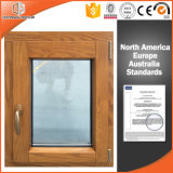 Aluminum Clad Solid Oak Wood Window for Luxury Villa, American Popular Inward Opening Casement Window