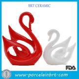 Modern Ceramic Red and White Couples Swan Wedding Gift