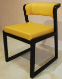 Yellow PU Leather Wooden Frame Dining Room Chairs/Restaurant Chair