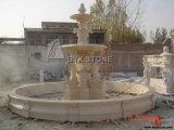 Beige Marble Dolphin Sculpture Water Garden Fountain for Decoration