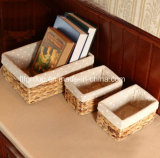 Customized High Quality Eco-Friendly Lined Straw Basket with Rectanglar Shape