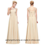 Long Grace Boat Neck Sexy See Through Chiffon Evening Dress