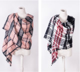 Women′s Cashmere Like Classic Checked Knitted Winter Printing Shawl Scarf (SP304)