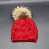 Children Baby Kids Autumn Winter Warm Knitted Real Fur POM POM Caps Beanie Hat (HW627)