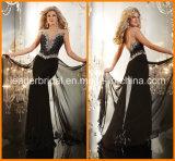 Sheer V-Neckline Chiffon Formal Dress Beading Black Evening Dress E1418