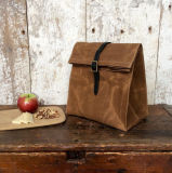 Custom Waterproof Waxed Canvas Lunch Bag with Leather Strap