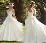 Beaded Deep-V Neckline Bridal Wedding Dresses (NWD1018)