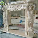 Pure Beige Marble Hand Carved Statue Sculpture European Fireplace Mantle/Mantels