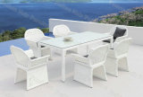 Outdoor Dining Set / 7 PC White Patio Dining Set / 6 Seater Rectangle Rattan Garden Set (M7C866)