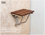 Solid Wood Shower Chair Fold Easily Stainless Steel Bracket Bathroom Convenient & Corridor Relaxing Wall Mounted Seat