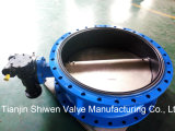 Ductile Iron Qt450 Double Flange Butterfly Valve with Gearbox