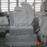 Leaning Angel Granite Monument / Headstone with Feather Carving