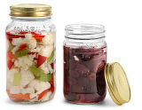 Clear Glass, Metal Cap. Vegetable Storage Container