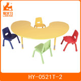 Moon Shape Kindergarten Kids Table with 4 Color Chairs