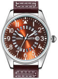 Pilot′s Watches Quartz Movement Round Calendar Gentleman Style Stainless Steel Watch