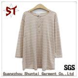 100% Cotton Leisure Fashion Stripes Comfortable Young Lady T-Shirt
