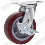 Heavy Duty PU Casters with Side Brake (Red) (Round Surface) (G4201)