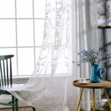 Decorative Flax Linen Embroidery Lace Window Curtain (13F0046)